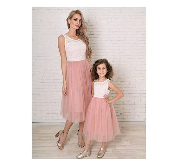 Pink Mother Daughter Matching Tutu Lace Dresses Mommy And Me Dress Skirt Rustic Girl