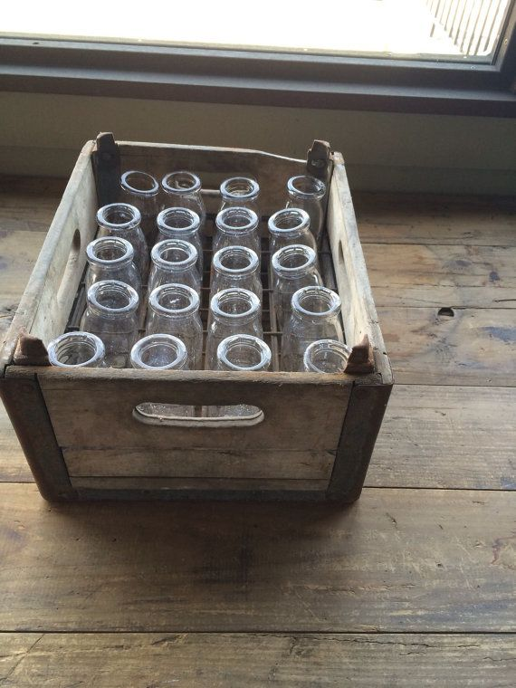 Vintage Milk Crate Milk Bottles Wooden Crate Dairy Bottles Milk Crates Wooden Crate Crates