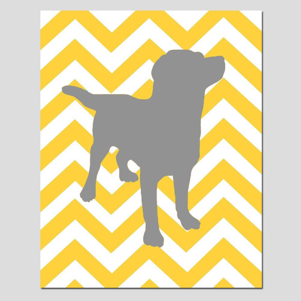 Modern Chevron Labrador Puppy Dog Silhouette Print - 11x14 Chevron ...