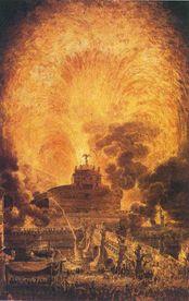 Louis Jean Desprez, La girandola di castel Sant'Angelo, XVIII secolo. Parigi, Bibliothéque de l'École Politechniqu