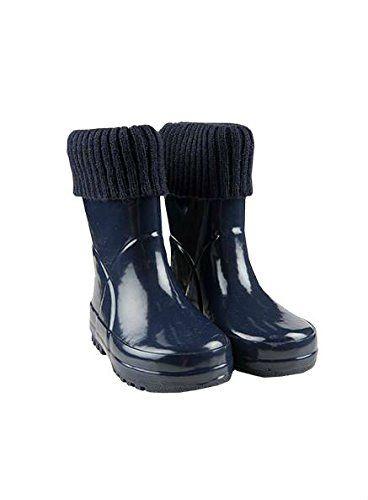 Kids Girls Boys Plain Rain Snow Wellies Wellington Boots NEW