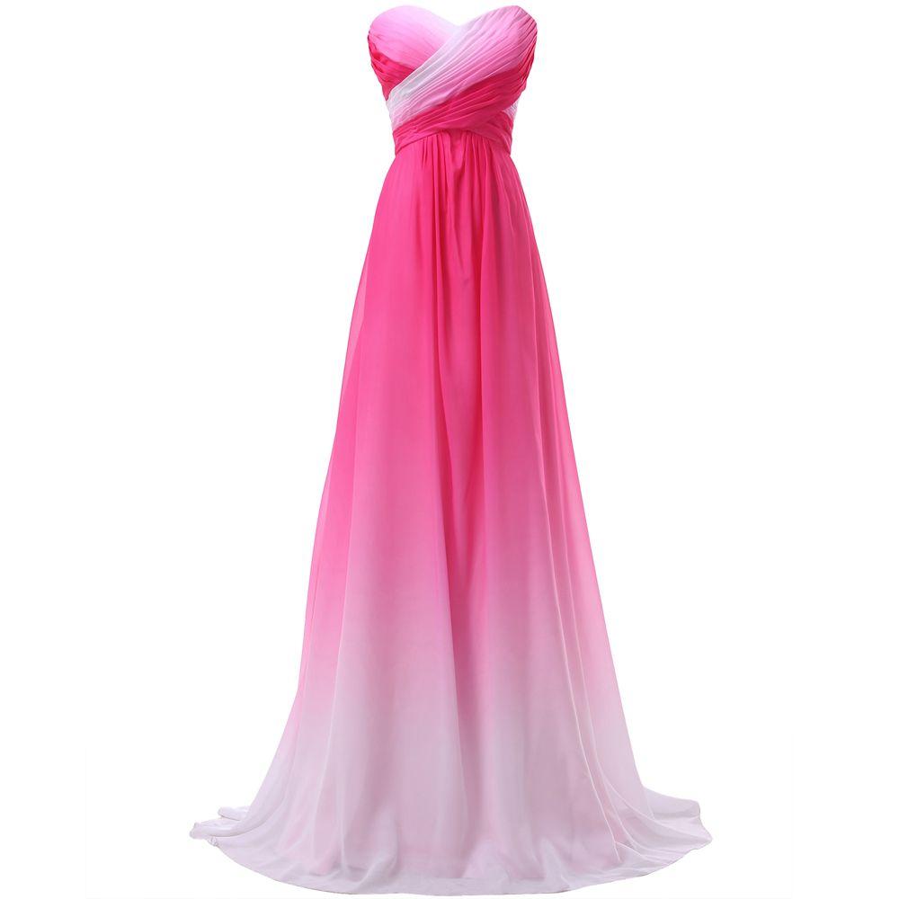 Arco iris Ombre vestidos baile largo gracia Karin gasa azul verde ...