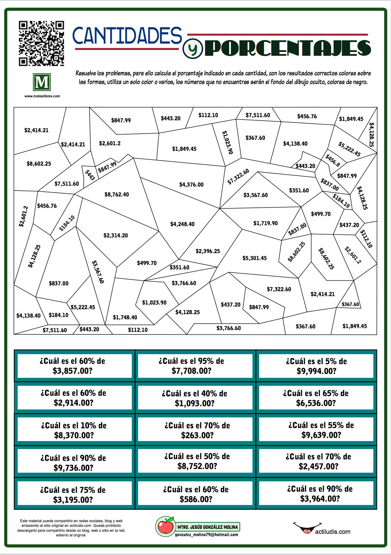 Cantidades y Porcentajes - Actiludis | Porcentajes matematicas, Olimpiadas  matematicas, Secundaria matematicas