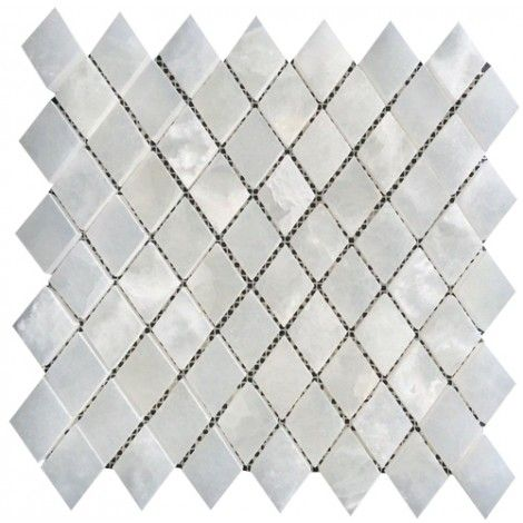 1x1 Pearl White Onyx Diamond Pattern Polished Finish Mosaic Tile