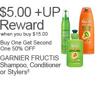 GARNIER FRUCTIS Shampoo, Conditioner or Stylers (Purchase dates 6/29-7/26/14), Buy $15.00 Get $5.00 +UP Reward, Buy One Get Second One 50% Off(5)