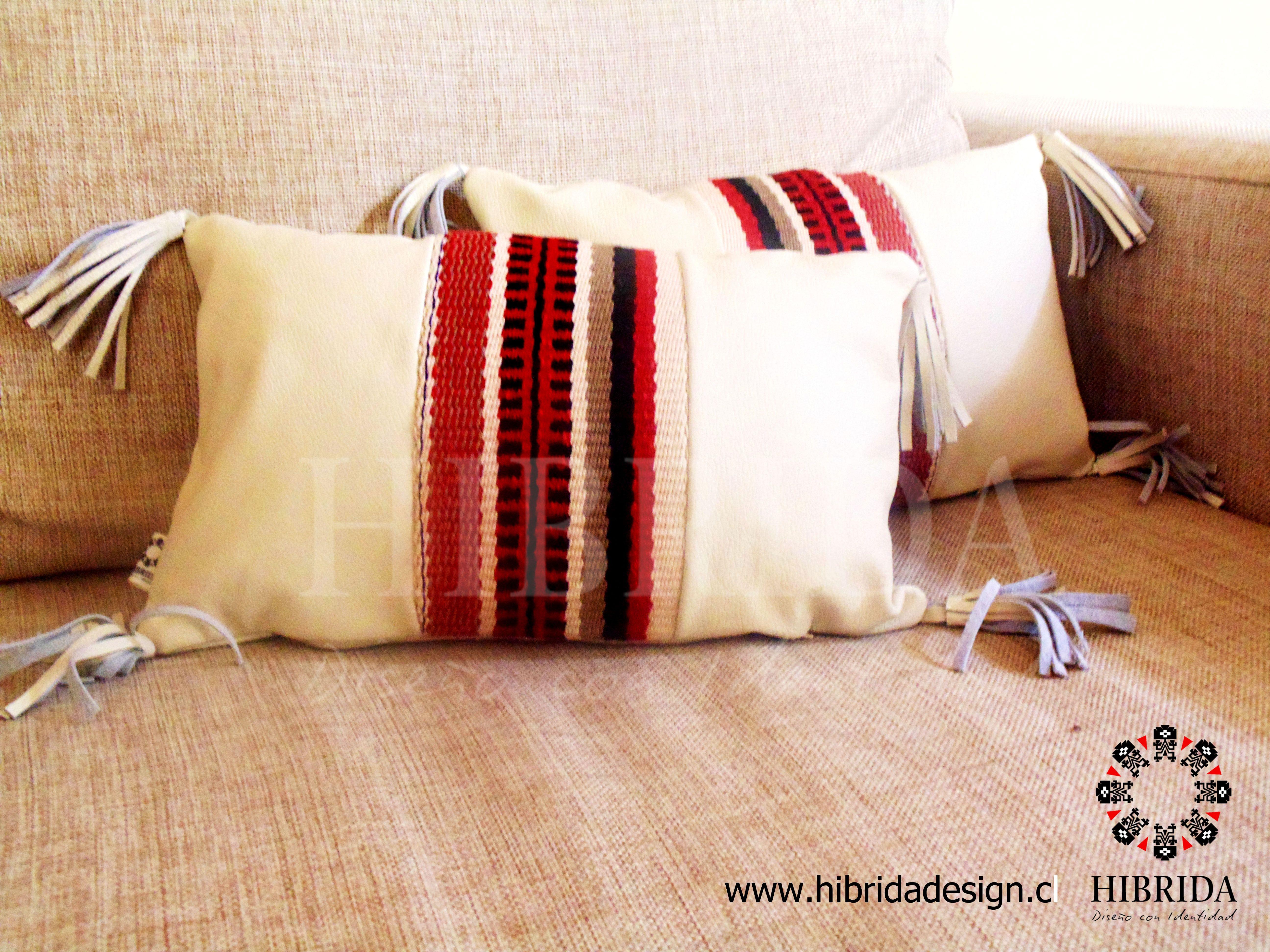 Cojines decorativos de cuero y telar mapuche dise o gloria - Cojines de diseno ...