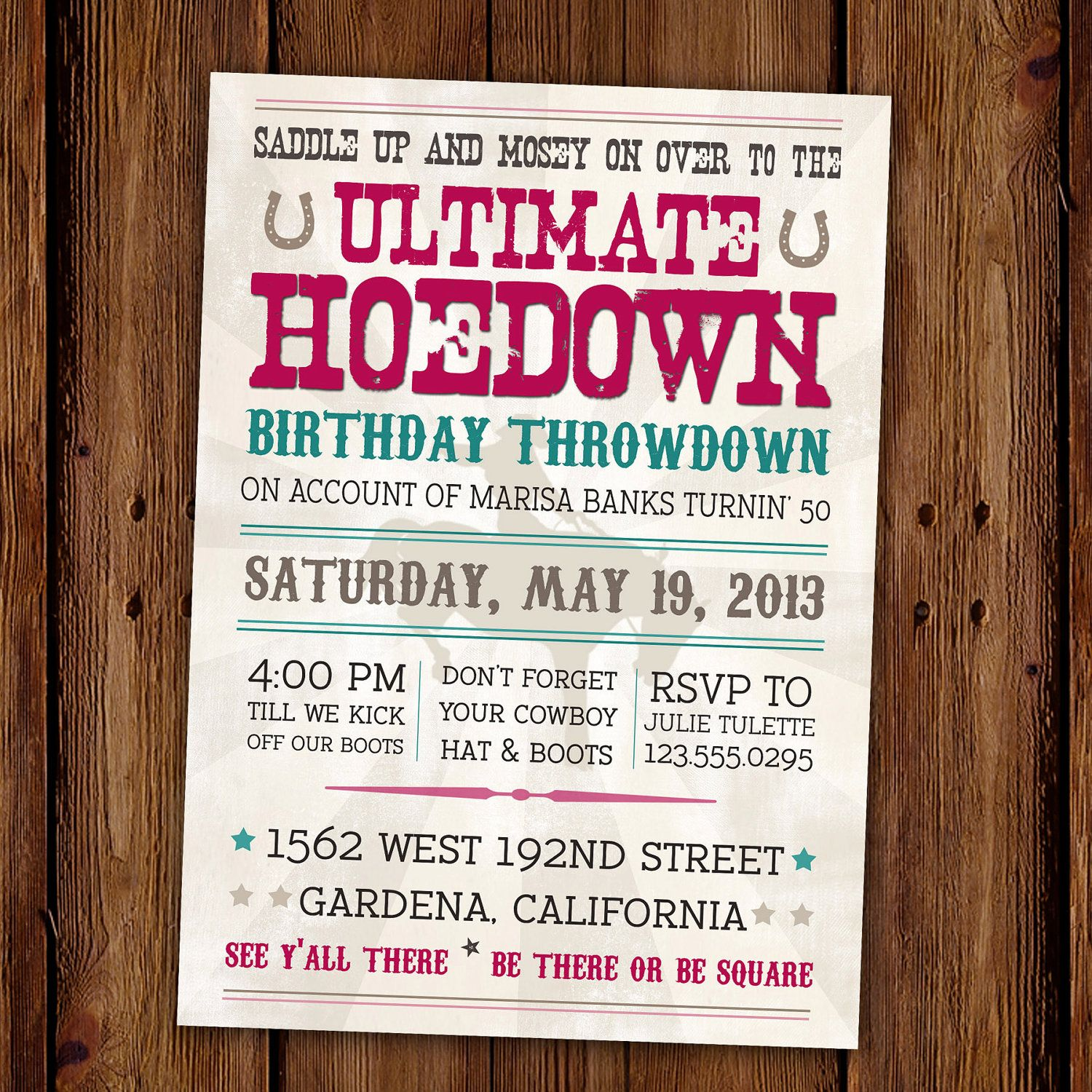 Vintage Hoedown Invitation Country Western PRINTABLE 1500 – Personalized 40th Birthday Invitations