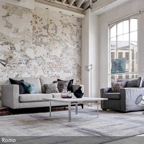 Wohnzimmer mit Steinwand im Shabby Chic Pinterest Color paints - wohnzimmer design steinwand