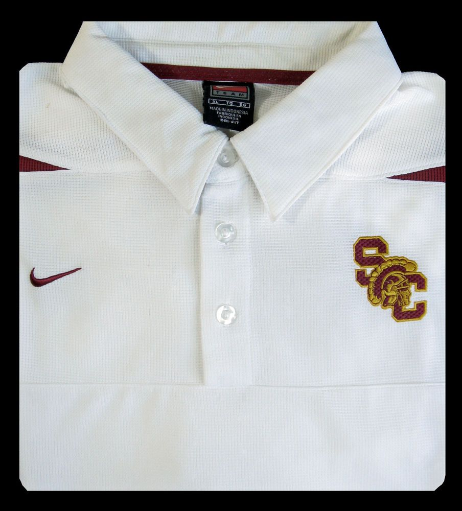 1b2d7049 USC Trojans Mens XL NIKE Team Fit Dri S/S White Polo Shirt Old Stock Never  Worn #Nike #USCTrojans