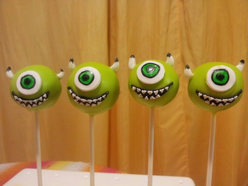Monsters mike cake pops Stuff to Try Pinterest Cake pop