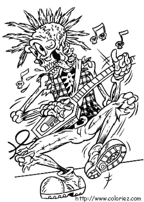 Rock and roll coloring pages free ~ Coloriage Halloween Rock'n roll | Color me pretty | Skull ...