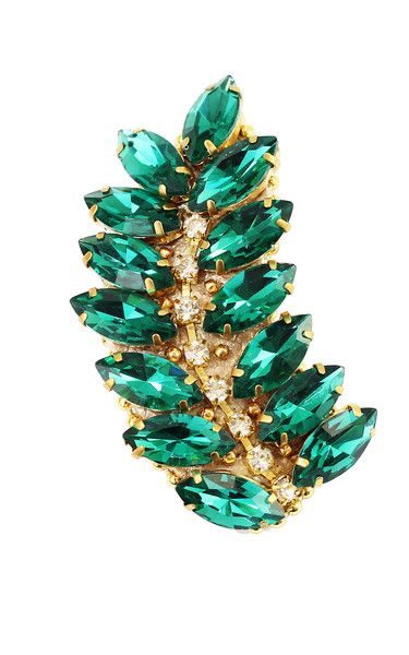Unique brooch made with emerald crystals, perfect to style a blazer, jacket or coat.