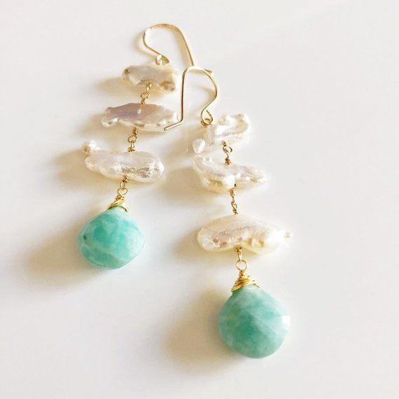 Earrings CAMILLE - Biwa pearl earrings - amazonite earrings - pearl jewelry (E522)