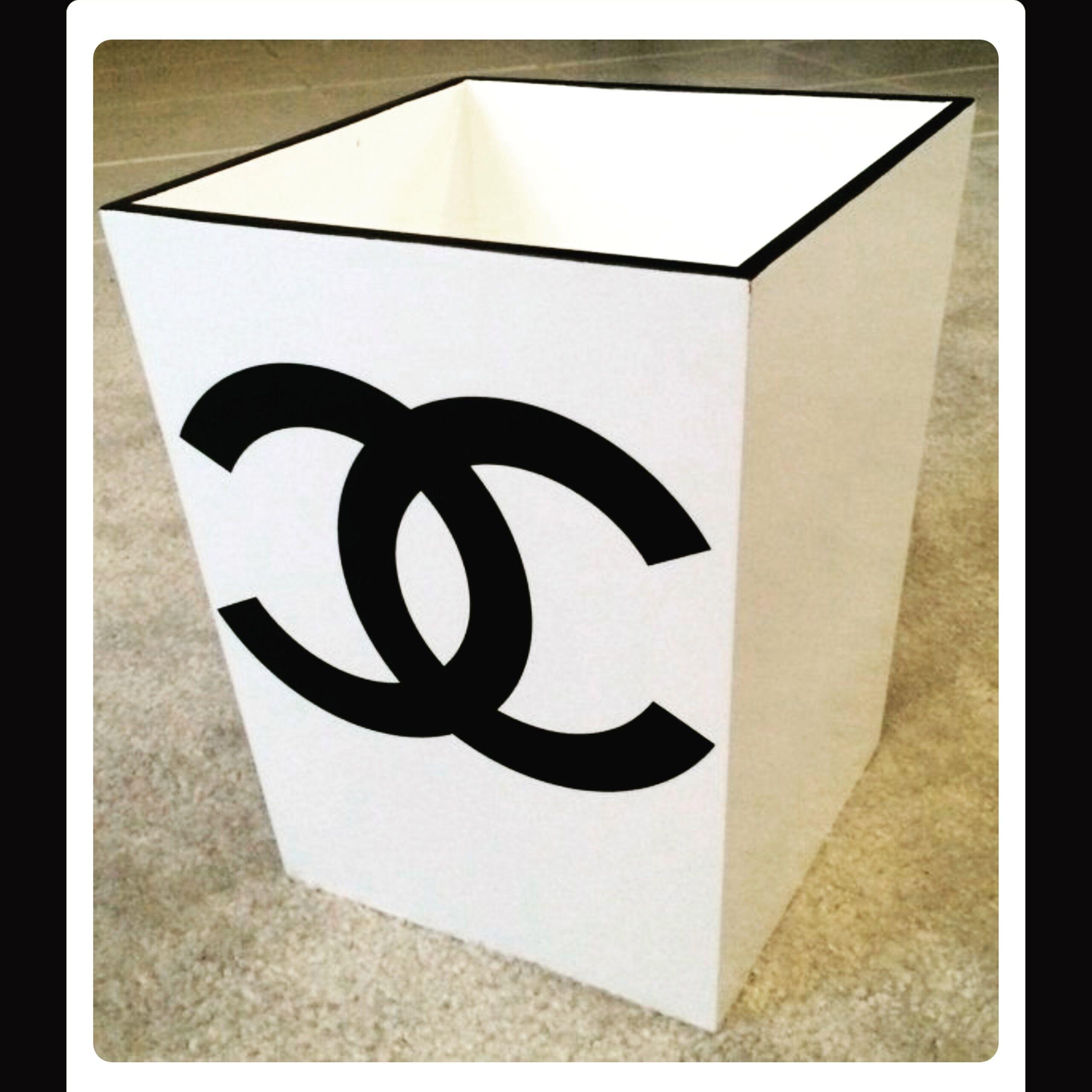 Chanel inspired trash bin white Trash Can Pinterest