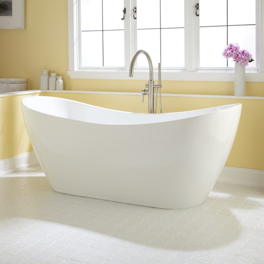 Bathroom elegant white ceramic stand alone bathtub with double sleeper in yellow bathroom stand alone bathtubs