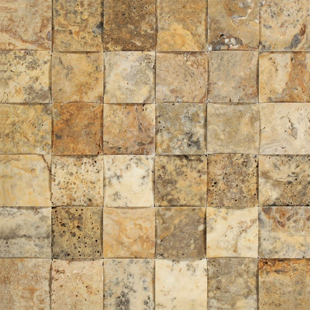 2 x 2 CNCArched & Honed Scabos Travertine Mosaic Tile
