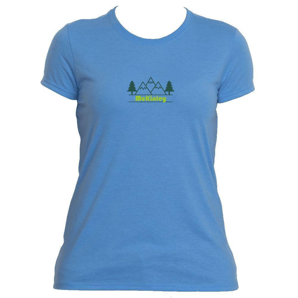 McKinley, Alaska Mountain & Trees in Green - Women's Moisture Wicking T-Shirt