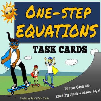 This pack contains a total of seventy-two (72) task cards divided into three (3) sets. You may use these task cards to introduce, provide practice, or test your students' understanding on the topic of One Step Equations. $