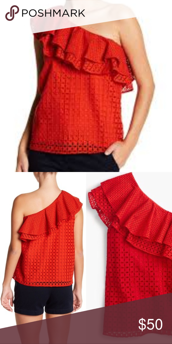 7cd19c938bf4c J. Crew NWT Red Eyelet One Shoulder Top J. Crew One Shoulder Ruffle ...