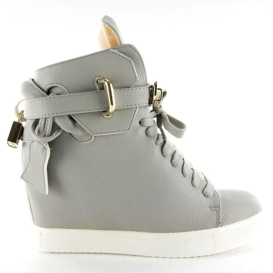 Sportowe Damskie Obuwiedamskie Szare Sneakersy Z Klodka 6059 Grey Ii Gat Obuwie Damskie Wedge Sneaker Shoes Fashion