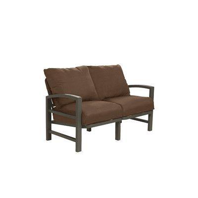 Tropitone Lakeside Loveseat with Cushions Finish: Mocha, Fabric: Pecan Haze