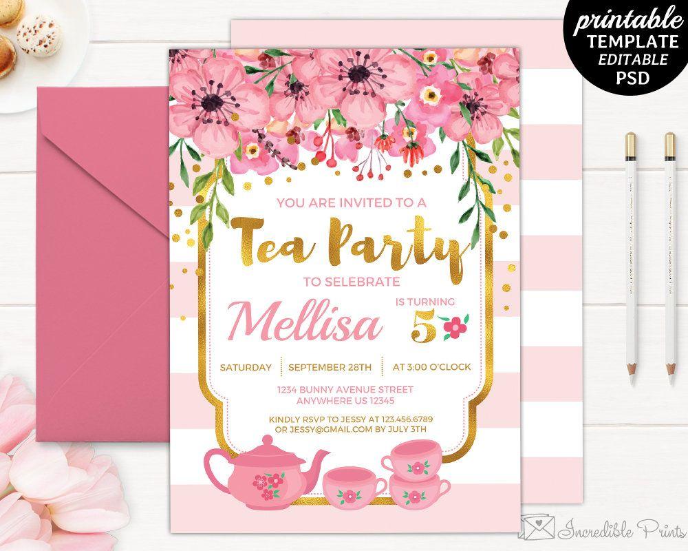 Tea Party Birthday Invitation Template 5th Girl Printable