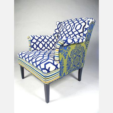 Stylish mixed upholstery at http://lelandswallpaper.com  try it.... Step out of the box and live a little!
