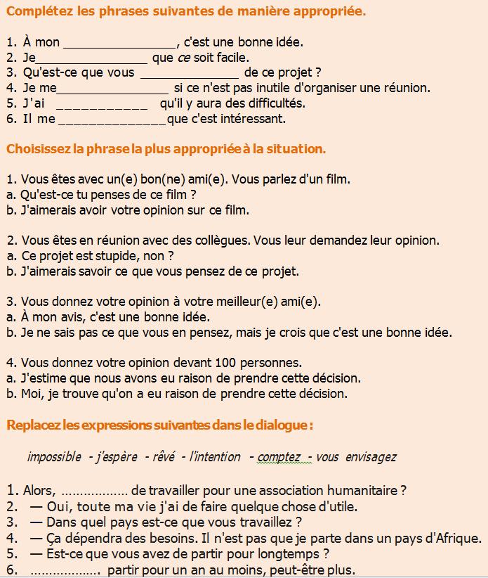 Z życia wzięte #2 - Wyrażanie opinii - ćwiczenie 1 - Francuski przy kawie