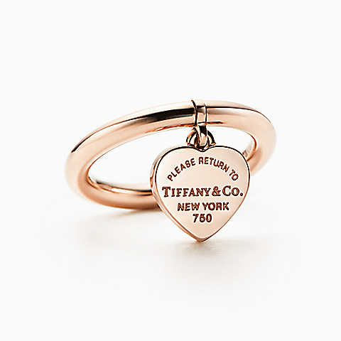 0246051e9 Return to Tiffany® heart tag ring in 18k rose gold. | JEWELRY ...