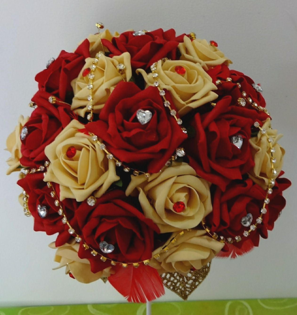 Bouquet Red And Gold Foam Roses With Diamontee Pins Feathers Glitter Leaves
