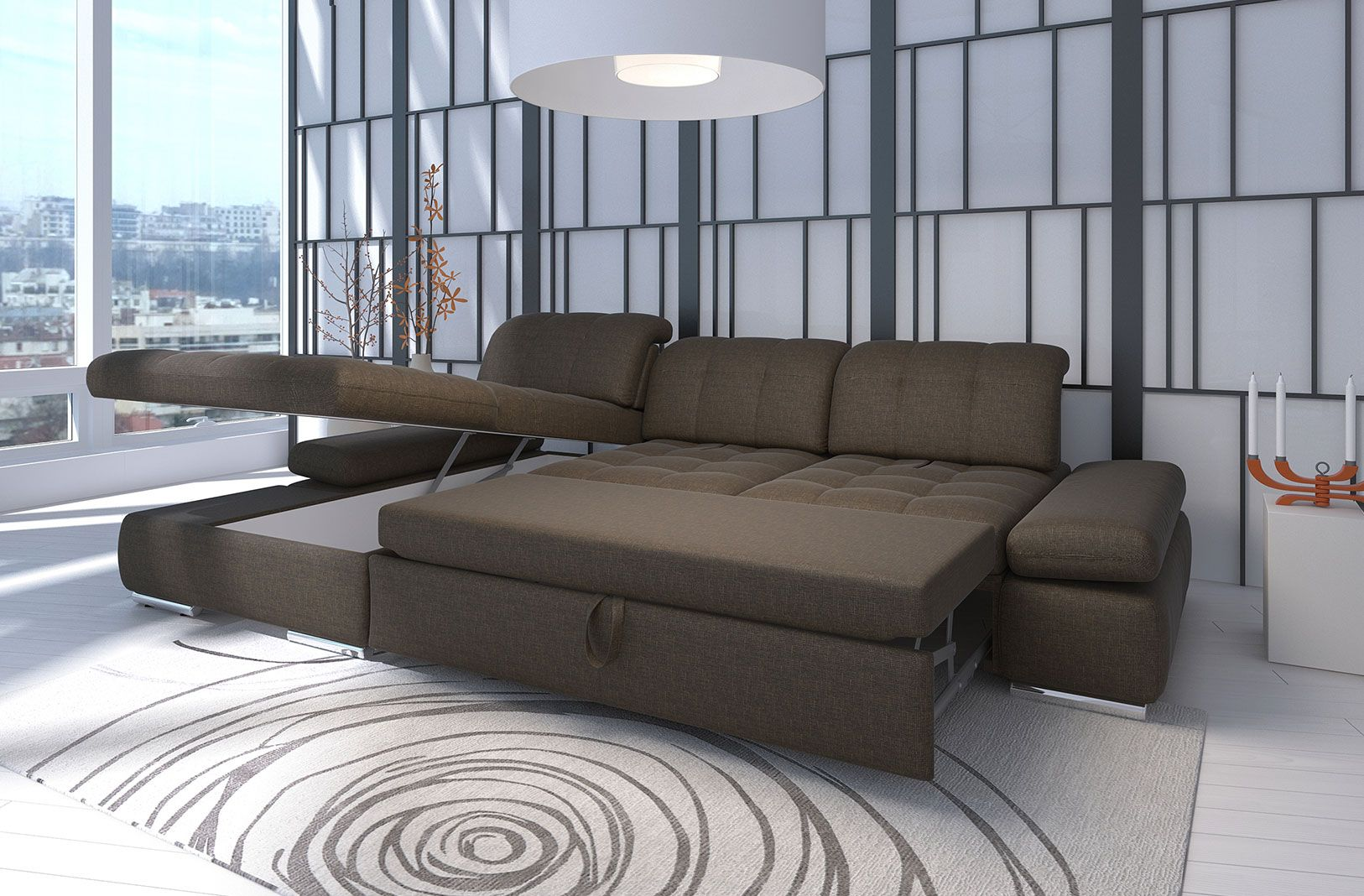 Alpine Sectional Sofa : Sleeper with Storage | Sectional ...