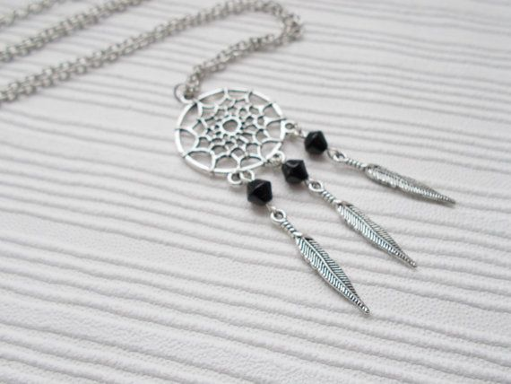 Fashion Retro Antique Silver Plated Dream Catcher Feather Pendant Necklace Chain Korea Jewelry Making Craft Jewelry DIY