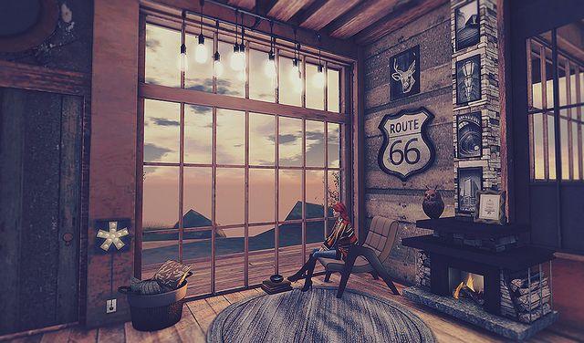 Second Life Interior Design Scene Featuring Trompe Loeil Seven