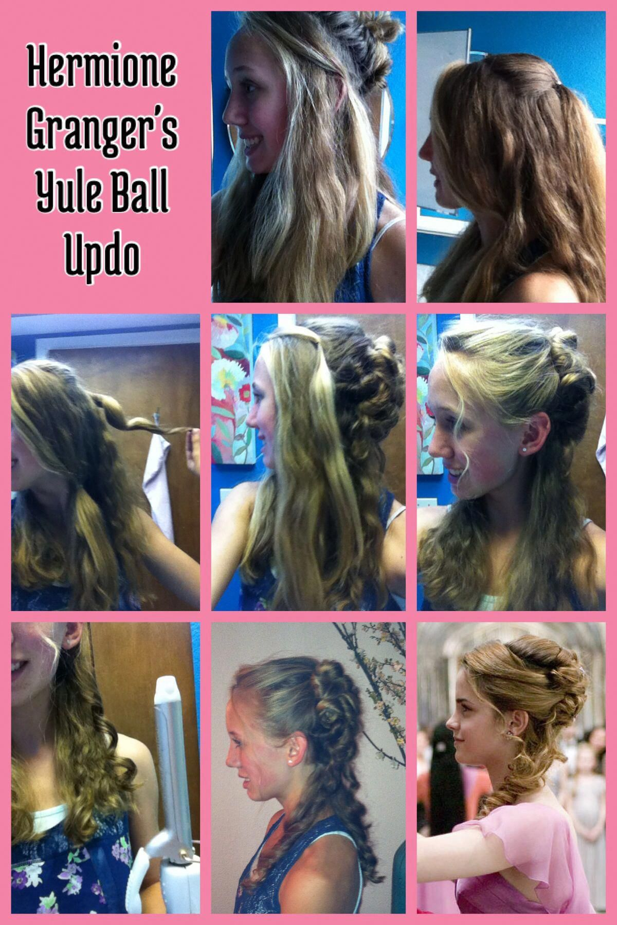 Hermione Granger S Yule Ball Updo 1 Section Off Hair Behind Your Ears Leave Promhairstylesalldown Ball Hairstyles Hermione Granger Hair Hermione Hair