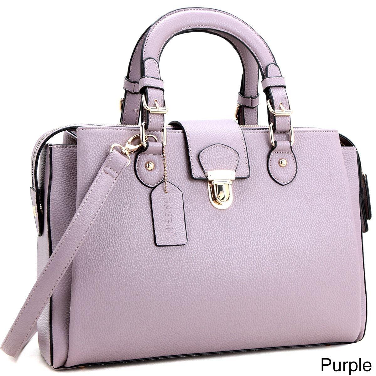 Dasein Front Snap Lock Satchel Crossbody Handbag Women S 4 Inch Handle Drop Length