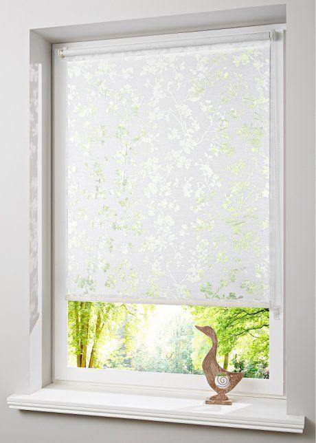 Ausbrenner Sichtschutzrollo Mit Blumen Weiss Klemmtrager Fenstergestaltung Rollo Vorhang Rollo