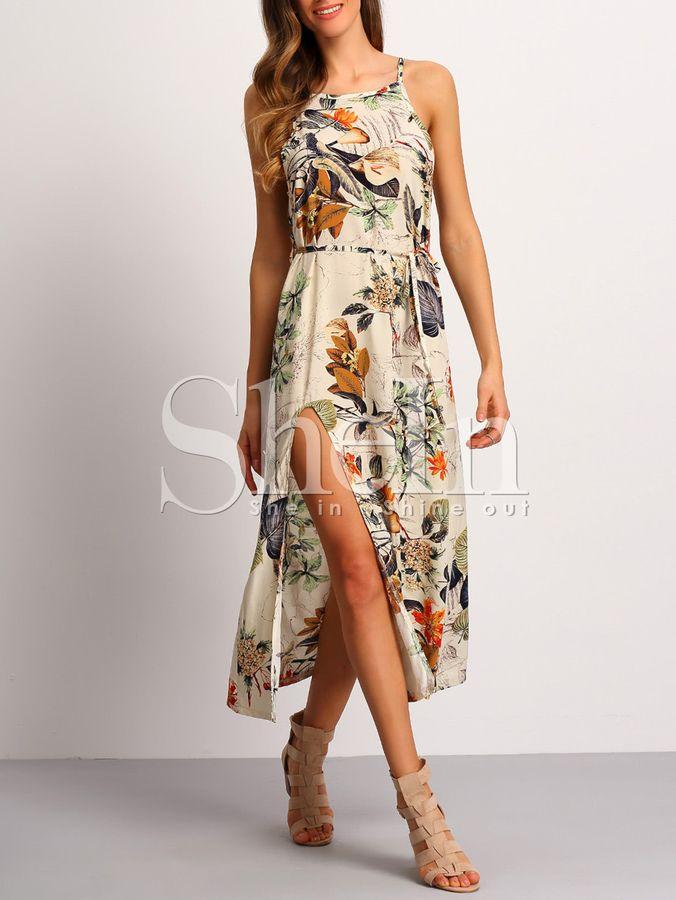 21383d874e Shein Spaghetti Strap Patterned Backless Split Dress | Clothes ...