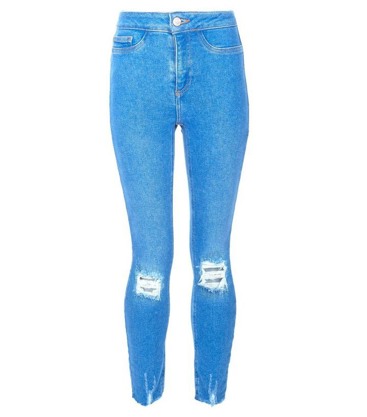 6dadecf4505d Girls Bright Blue Ripped High Waist Super Skinny Jeans
