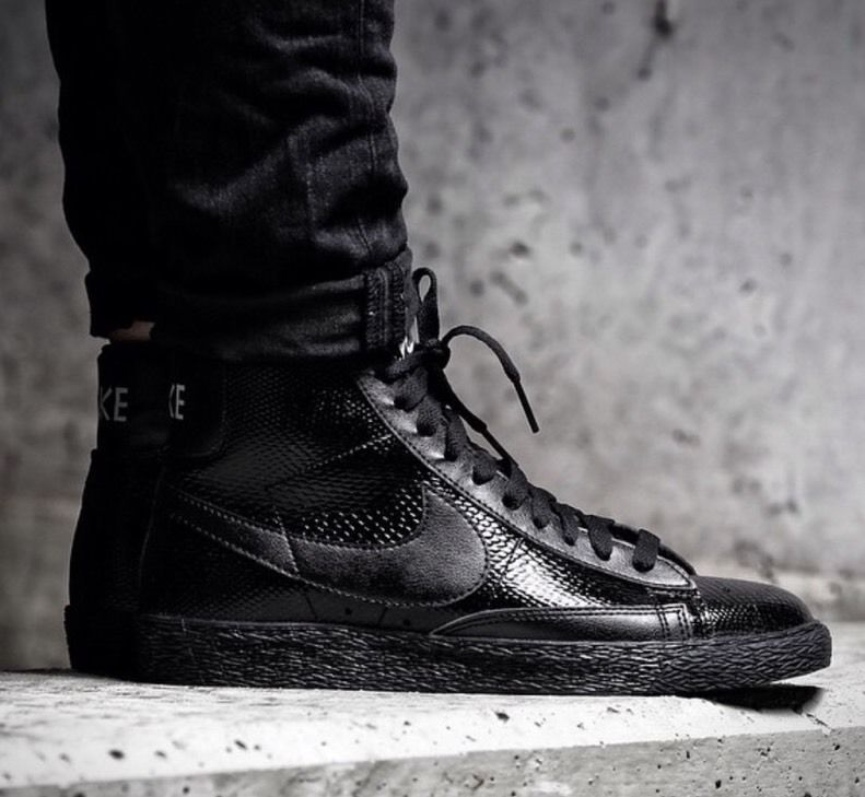 designer fashion 382b5 ef8e9 ... nike blazer mid premium black leather ...