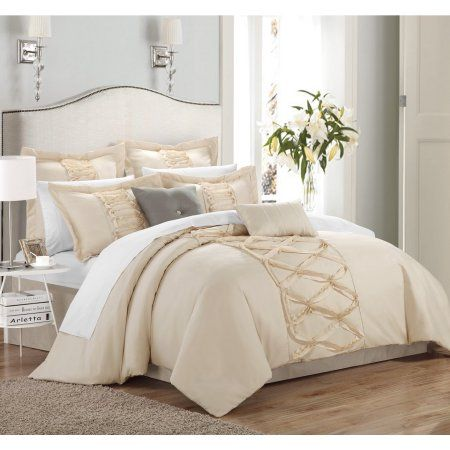 Free Shipping. Buy Chic Home  Nancy Beige 12-Piece Bed in a Bag with Sheet Set at Walmart.com