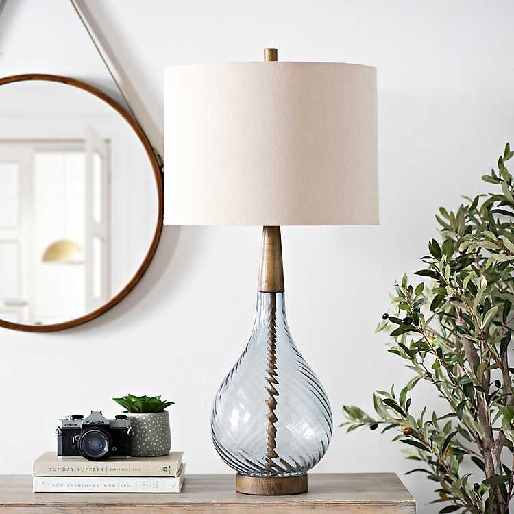 Dusty Blue Nora Glass Table Lamp From Kirkland S Table Lamps For Bedroom Table Lamps Living Room Glass Table Lamp Bedroom