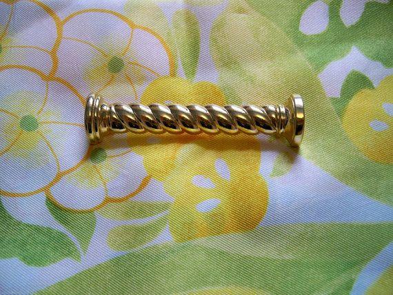 Vintage Monet Spiral Bar Gold Tone Brooch