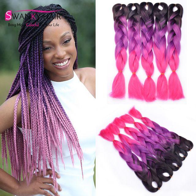 Black Purple Pink Kanekalon Braiding Hair Synthetic Extension High