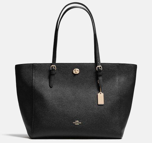 COACH Black Crossgrain Leather Turnlock E/W Shoulder Tote Bag ~ NWOT $295…