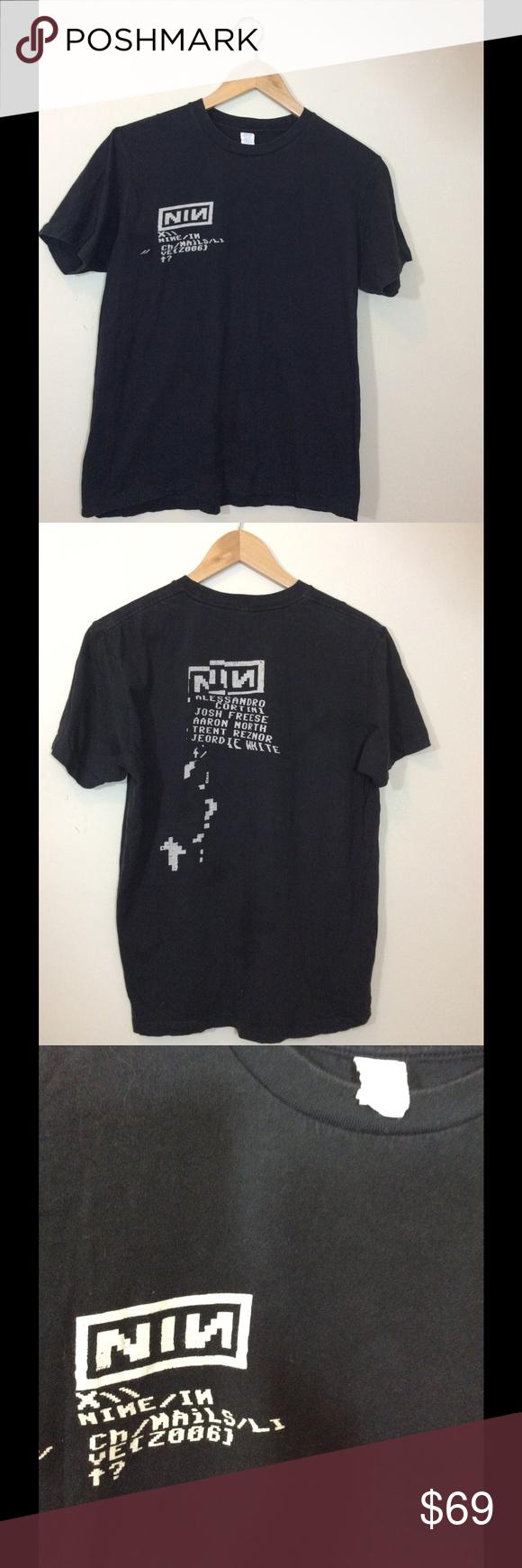Black Nine Inch Nails NIN Band Vintage T-shirt | Short sleeves ...