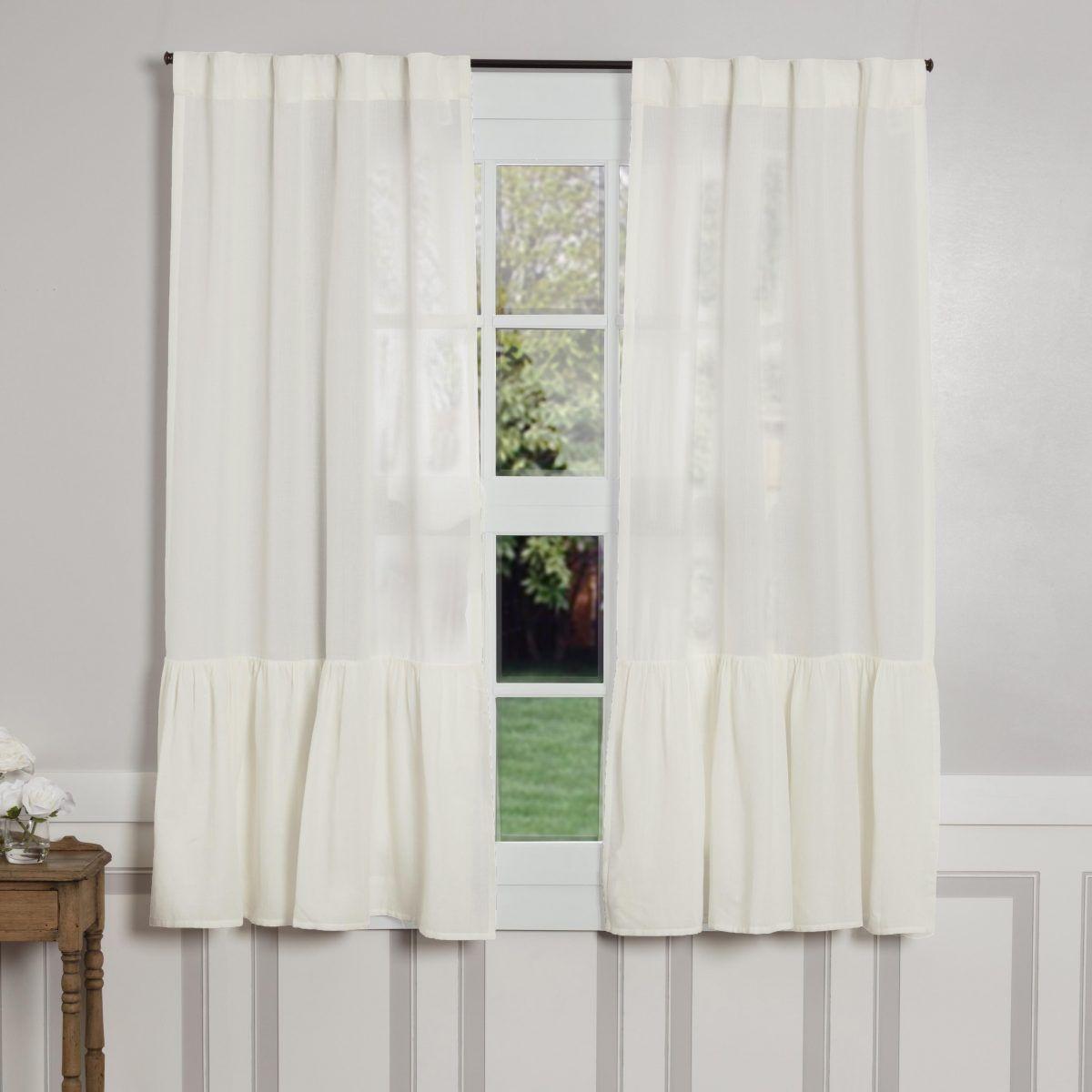 Annabelle High Ruffle Panels 63 Curtains White Ruffle Curtains Farmhouse Curtains