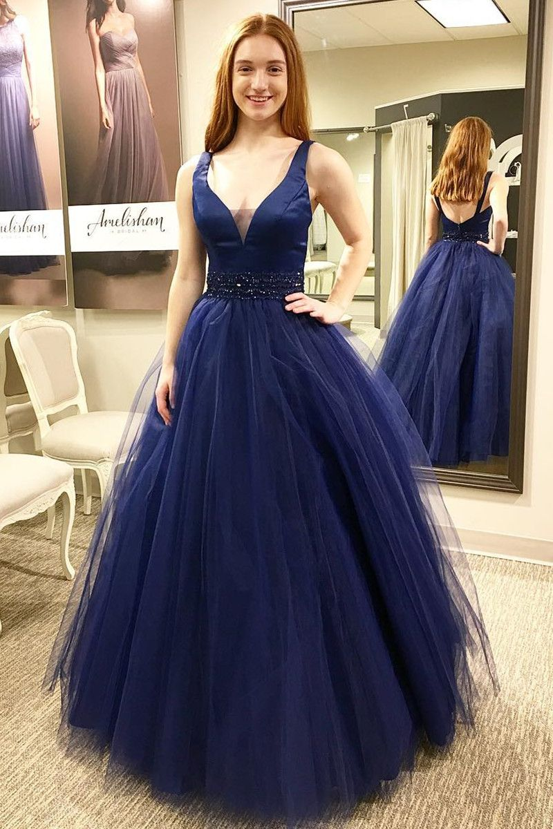 v neck sleeveless prom dress navy blue formal gown in