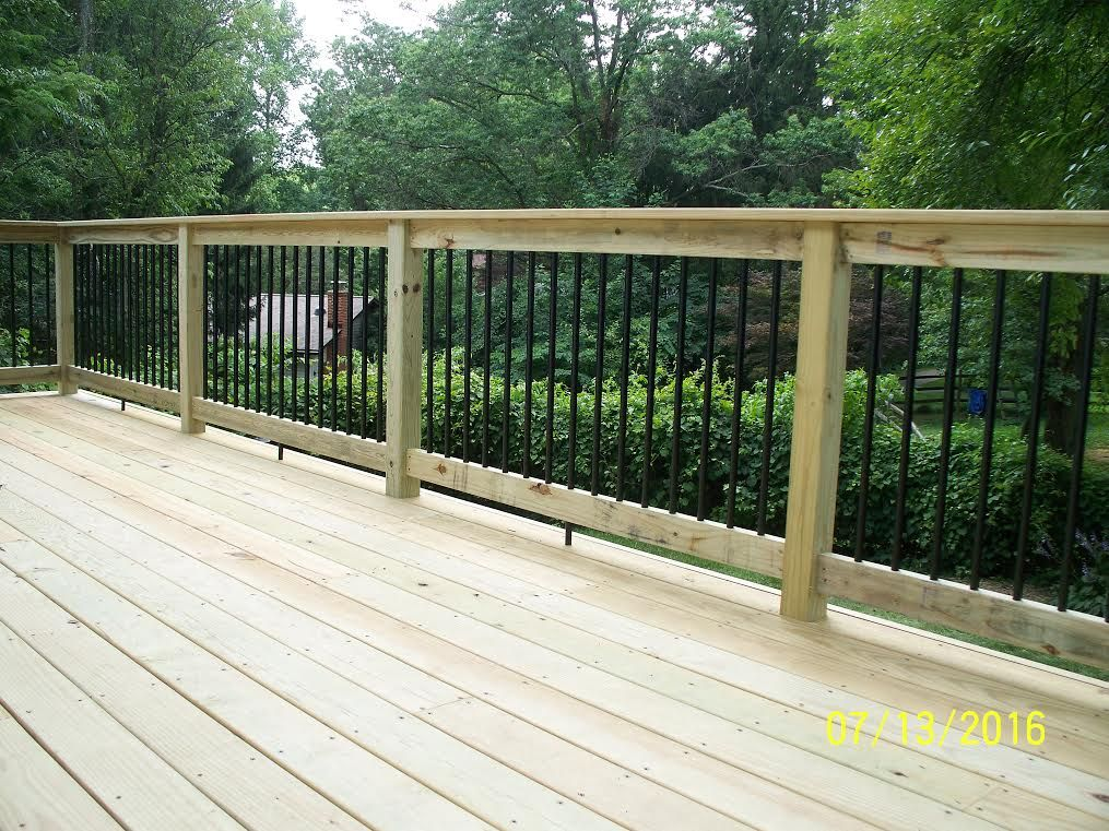 Standard Deck With Pressure Treated Handrail Black Aluminum | Pressure Treated Round Handrail | Menards | Aluminum Balusters | Baluster | Cedar | Porch