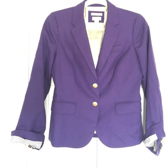 J.Crew Schoolboy blazer in purple A classic J.Crew style! Purple schoolboy blazer, size 2 with gold buttons and striped lining in the sleeves. Worn only a couple of times and in like-new condition. Has 3% spandex for comfort. Perfect for work or throwing on over a dress. Love with jeans, a t-shirt and pumps!! J. Crew Jackets & Coats Blazers