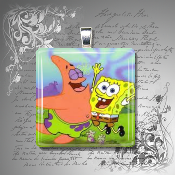 SpongeBob and Patrick glass tile pendant necklace by